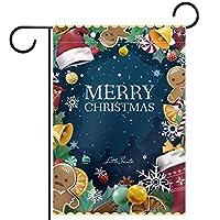 ガーデンヤードフラッグ両面 /12x18in/ ポリエステルウェルカムハウス旗バナー,メリークリスマスデコレーションジンジャーブレッド