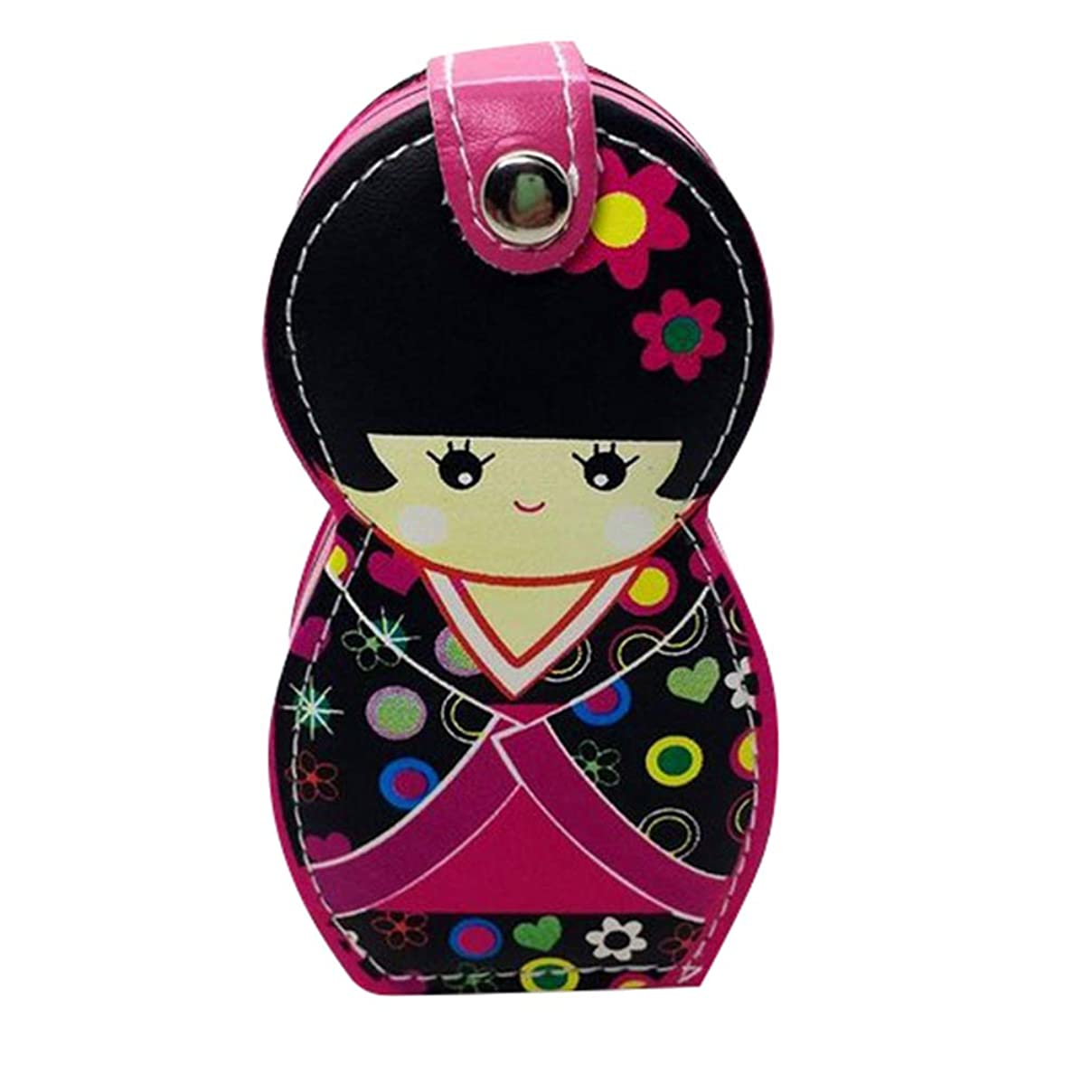 故国風邪をひくアコーHongma ネイルケアセット マニキュアセット 可愛い 日本人形 ロシア人形 グルーミングキット 爪やすり 爪切りセット 携帯便利 収納ケース付き (日本人形ピンク)