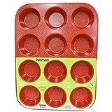 casaWare Ceramic Coated NonStick 12 Cup Muffin Pan (Red Granite)...