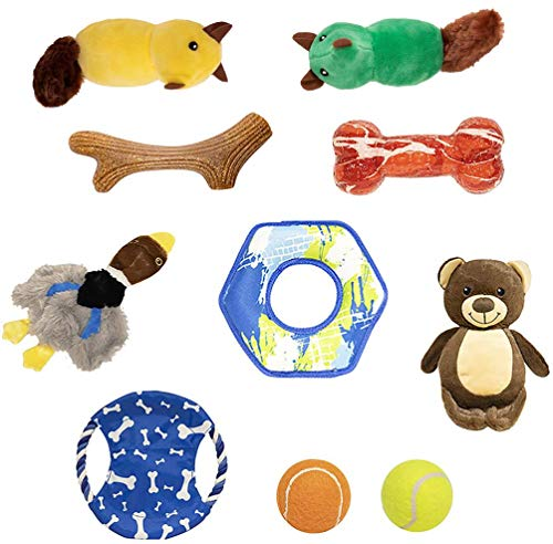 IOEN 10 Pack Durable Dog Chew Toys for Medium Large DogsNo Stuffing Squeaky Plush Dog ToyDog Power Teething Rubber Bone ToysTough Dog Rope Toys 10 Pack