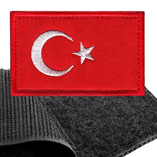 Türk Patch Flagge Klett - Türkei Klettabzeichen, Flaggen Emblem Aufnäher mit Klettverschluss, Türkiye Cumhuriyeti Aufkleber Klettbänder für Rucksäcke Custom Geschenke (8x5 cm)