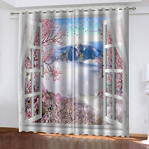 "Grommet Thermal Insulated Room Darkening Curtains Blackout Curtains for Bedroom Insulated Heavy Weight Textured Rich 2 Panels 140"" W x 160"" Hcm Windows Clouds"