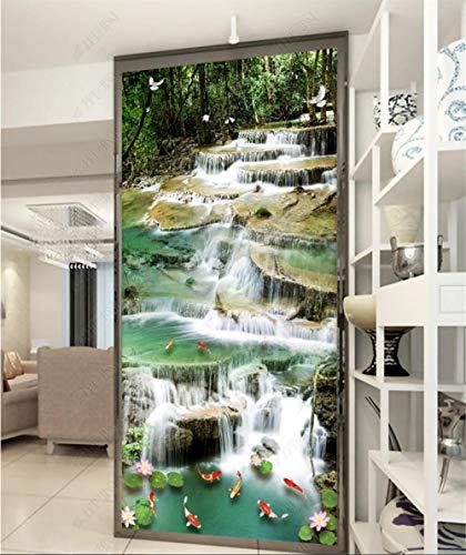YANCONG Vinilo Puerta De Casa Tatuajes De Pared Bosque 3D Goldfish Cascada Paisajes Naturales Verdes Murales De Pared Pegatinas Carteles Usado para Cocina Sala De Baño 77X200Cm