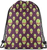 Elsaone Alien Pattern Drawstring Backpack String Bag Sackpack Sports Athletic Gym Sack Hombres Mujeres Niños 36 x 43 cm / 14.2 x 16.9 Pulgadas