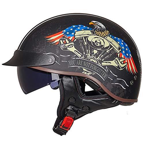 Motorradhelm Motorrad Half Helm Motorradhelm Bike Helm Roller Scooter Helm Mofa-Helm Chopper Retro Cruiser Straßenreiten Halbschalenhelm mit Visier ECE/DOT Zertifiziert für Herren und Damen