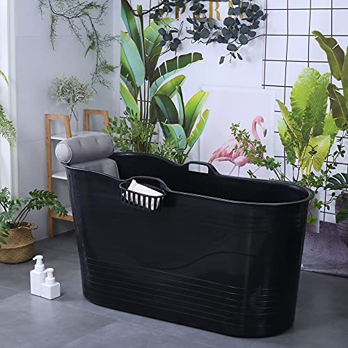 Mobile Badewanne für Erwachsene XL, Ideal für das kleines Badezimmer, 123 * 51 * 63cm, Stylisch und Stimmungsvoll (Schwarz mit graue Kissen)