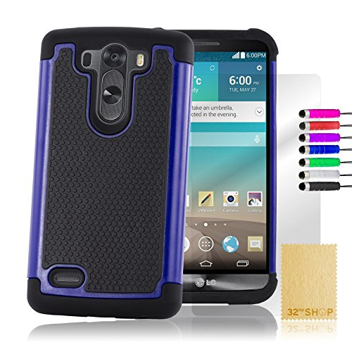 32nd® Funda Rígida Anti-Choques de Alta Proteccion para LG G3 S (G3 Mini / D722) Carcasa Defensora de Doble Capa - Azul