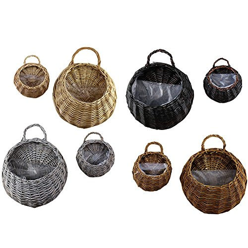 Aneil Wicker Rattan Artificial Flower Basket Wall Mounted Fake Plant Pot Planter Hanging Vase Container