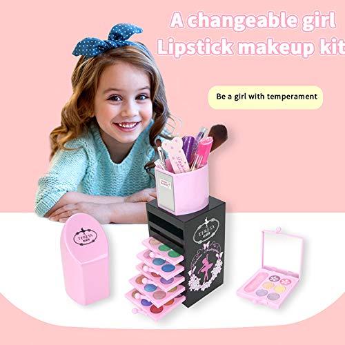 Walmeck Cosmétiques pour Enfants Boîte de Maquillage Ensemble de Maquillage Lavable Ombre à paupières Brillant à lèvres Blush Rouge à lèvres Ensemble cosmétique Fille Faire Semblant de Jouer