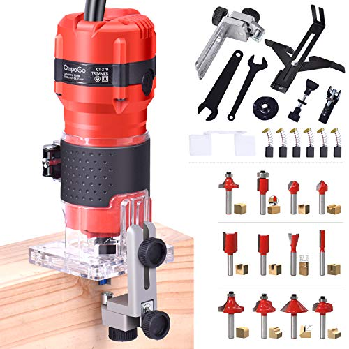 CtopoGo Compact Wood Palm Router Tool Hand Trimmer WoodWorking Joiner Cutting Palmming Tool 30000R MIN 800W 110V with 12PCS 1 4  Router Bits