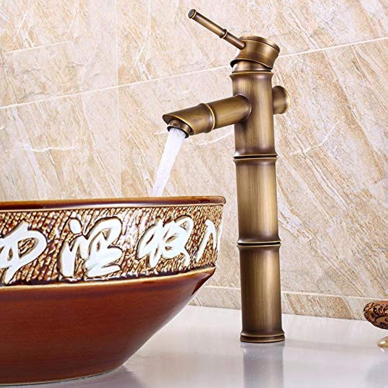 CFHJN Home Bambus Stil Hei Und Kalt Alle Kupfer Europischen Stil Retro Waschbecken Hhe Einhebel Wasserhahn D (31  14 cm)