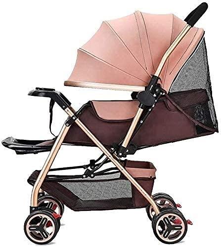 TANKKWEQ Coche con cochecito de bebé plegable Cochecito de viaje de luz portátil, ventilador de cochecito de bebé, con un cinturón de seguridad de 5 puntos de paraguas impermeable con dosel de canasta