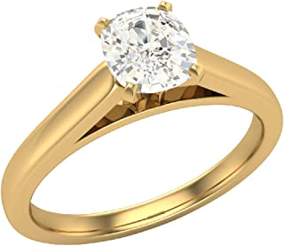 0.50 ct Diamond Engagement Ring for women Cushion Cut 4-prongs Solitaire Setting 14k Gold