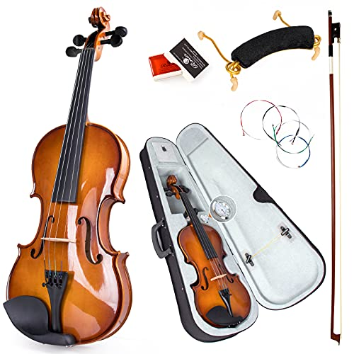 Violin 4/4 Full Size,Kmise Solid Wood Fiddle Set for Adults Beginners Students,with Violin Bow,Hard Case with Hygrometer,Shoulder Rest,Rosin,Extra Strings (4/4)