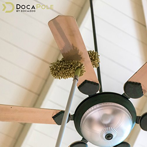 DocaPole Microfiber Flex-and-Stay Ceiling Fan Duster // Fan Duster with Removable Microfiber Chenille Dusting Cloth // For Dusting High Ceiling Fans with Extension Pole // DocaPole Cleaning Attachment