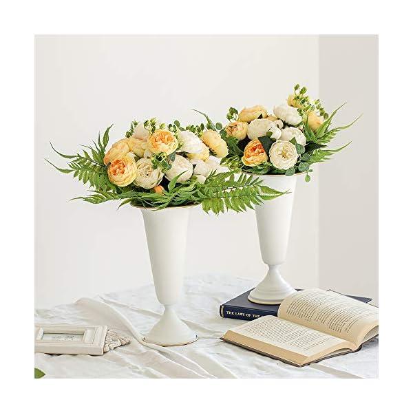 2 Piezas Florero de Trompeta de Metal con Flores para Centros Mesa de Boda para Decoración Banquetes Boda, Arreglos de…
