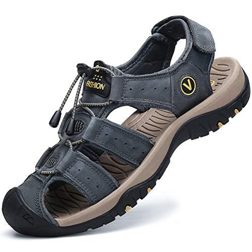 FLARUT Sandalen Herren Outdoorsandalen Sommer Wanderschuhe Trekkingsandalen Leder Strand Wandersandale Laufschuhe Lässige Sneaker Sportsandalen(grau,43)
