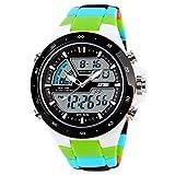 doppio orologio al quarzo fuso orario digitale della vigilanza di sport analogico multifunzione orologio di colore verde mimetico maschile