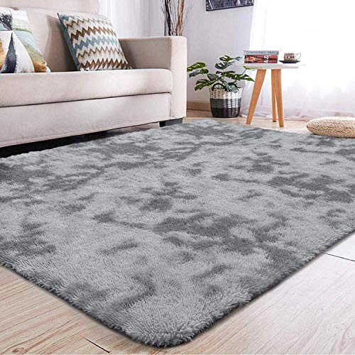 YJ.GWL Soft Indoor Large Modern Area Rugs Shaggy Fluffy Carpets Suitable for Living Room and Bedroom Nursery Rugs Abstract Accent Home Decor Rugs for Girls and Kids 4x5.9 Feet Grey