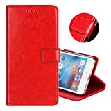 ZYQ Rot PU Leder Tasche Schutz TPU Silikon Gel Hülle Für Oppo F7 Handy Flip Brieftasche Hülle Cover Etui Klapphülle Handytasche
