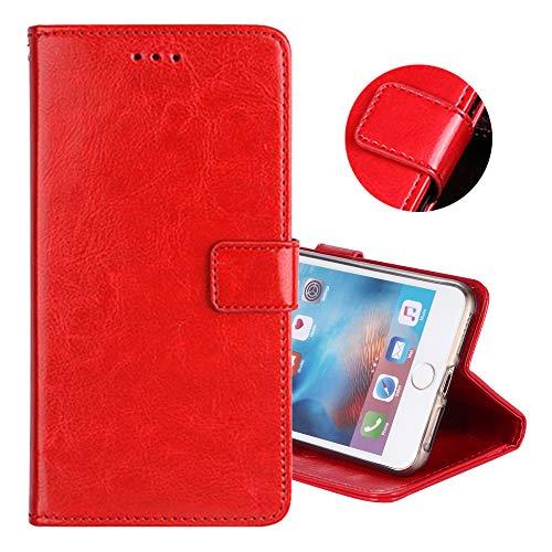 ZYQ Rot PU Leder Tasche Schutz TPU Silikon Gel Hülle Für Doogee Y6 Max Handy Flip Brieftasche Hülle Cover Etui Klapphülle Handytasche