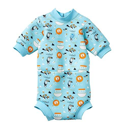 Splash About Baby Happy - Traje de Neopreno para pañal, Color Azul (Arca de Noé), Grande (6-14 Meses)