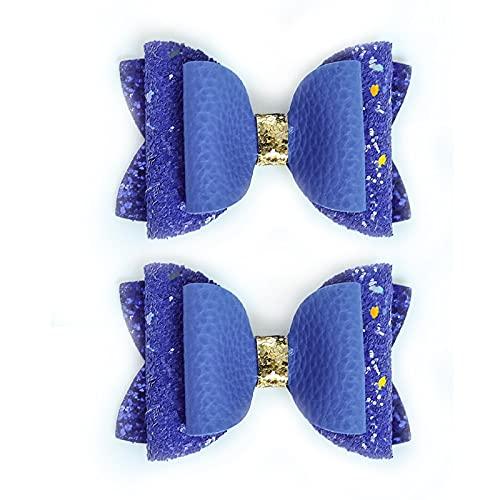 LANHUAN 2 stücke Süße tägliche Leder Mix Pailletten Bogen Seite Glitzer Barrettes Mädchen Headwear (Color : Gray)
