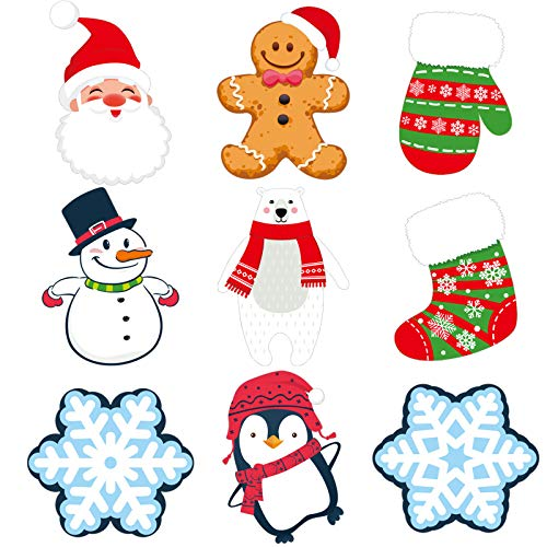 45 Pieces Mini Winter Cutouts for Classroom Snowflake Snowman Santa Gingerbread Christmas Cutouts with 100 Pieces Adhesive Glue Point Dots Winter Bulletin Board Classroom for Toddler Kids Preschool