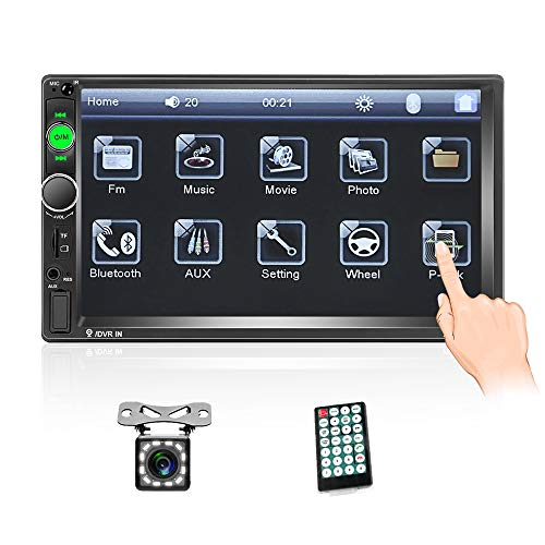 Double Din Car Stereo with Bluetooth 7 inch Touch Screen Car Radio Support Mirror Link USB TF AUX FM Radio Car Audio Multimedia Car MP5 Player + Car Backup Camera & Remote Control