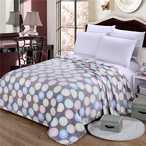PengMu deken van zachte microvezel, warm, zacht, van dik fluweel, duurzaam, zonder bol, blauwe poeder, gele bol verlicht je bank, bank of bed