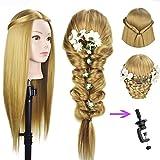 Tête d'entraînement pour coiffeur 68,6cm, Mannequin de coiffure,  Tête coiffure, cheveux synthétiques, Tête de mannequin avec serrage pour table