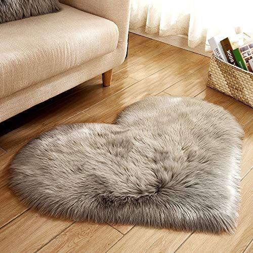 Committede Flacher Kurzflor Kunstfell Uni Teppich Bettvorleger für Wohnzimmer oder Schlafzimmer Deko auch für das Kinderzimmer (40 * 50 cm Herzform Farbe)