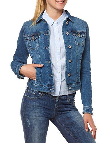 Tommy Jeans Damen Classic Trucker Langarm Jeansjacke Jeans Jacke Blau (Protect Mid Blue 911) XX-Small