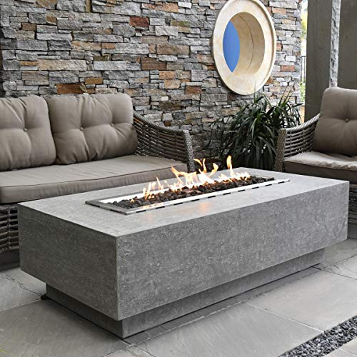 Elementi Kingsale HPC Concrete Rectangular Fire Table in Light Grey