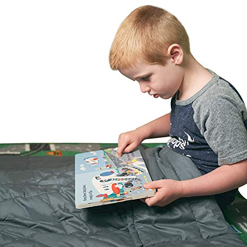 """COMHO Weighted Blanket for Kids 5 lbs,36""""x48"""" Grey 100% Material with Glass Beads"""