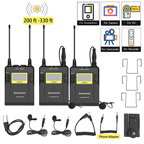 UHF Dual Wireless Microphone Smartphone Vlog Dialog Camera Interview Live, Saramonic 96-Channel Lavalier Mic System 2 Transmitters for iPhone 11 X 8 7 DSLR & Camcorder YouTube Video(Phone Adapter in)