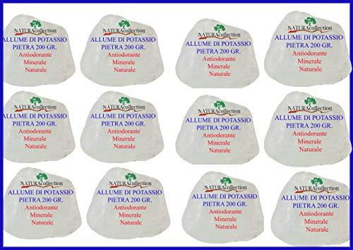 12 x Allume di Potassio Pietra 200 gr. = 2,4 Kg di Prodotto Allume di Rocca Cristallo di Potassio