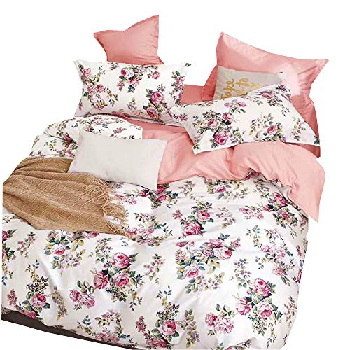 nobranded White Duvet Cover Custom Made Floral Printed, 100% Cotton Comforter Cover with Zipper Closure and 2 Pillow Shams, Soft and Breathable (Not Include Insert)