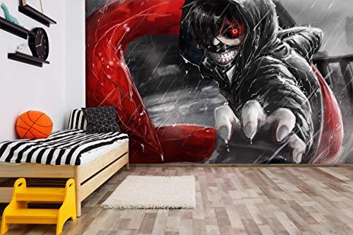Papel Tapiz Mural 3D Fondo Fotográfico Autoadhesivo Dibujos Dibujos Animados Niño Niña Dormitorio Decoración Póster Papel Tapiz Corredor Habitación Wallpaper Anime Tokyo Ghoul 200X150Cm