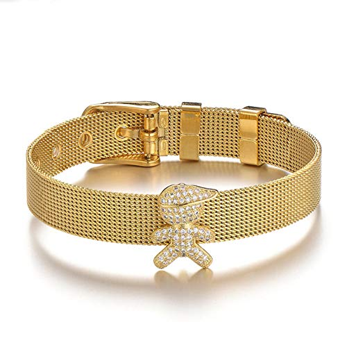 Jewellery Bracelets Bangle For Womens Lovely Cubic Zirconia Bracelet Stainless Steel Mesh Family Bracelets Buckle Wristband Jewelry For Women Lovers Boygold