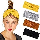 Bascolor Diademas Mujer Elástica Turbantes Flor impresión Diademas Deporte Nudo Banda para Cabello Yoga cabeza Wraps (4pcs algodón diademas)