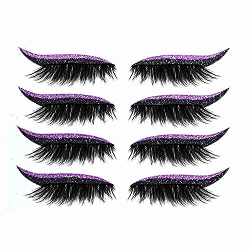 4 pares de pestañas postizas pegatinas delineador de ojos reutilizables Pestañas gruesas y esponjosas Invisible autoadhesivo Línea de ojos Etiqueta adhesiva Herramienta de maquillaje de ojos