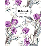 Notebook with A-Z Tabs: 8.5 x 11 Large Lined Journal | Alphabetical Index | Painted Watercolor Spring Floral Design White
