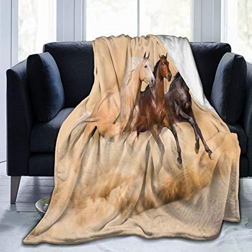 PANILUR Flanell Fleece Soft Throw Decke,DREI Pferde Laufen im Wüstensturm Mythical Mystic Messenger Animals Habitat,für Sofas Sofa Stühle Couch Leicht,warm und gemütlich 153x127cm