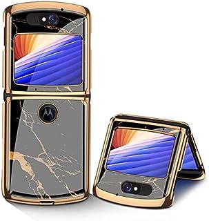 Motorola Razr 5G Cases Ultra-Thin PC + 9H Tempered Glass Phone Cover for Motorola Razr 5G (BLACK GOLD)
