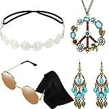 Hicarer Conjunto de Disfraces de Hippie Incluye Gafas de Sol, Diadema, Collar de Signo de Paz y Pendientes(Estilo Turquesa)