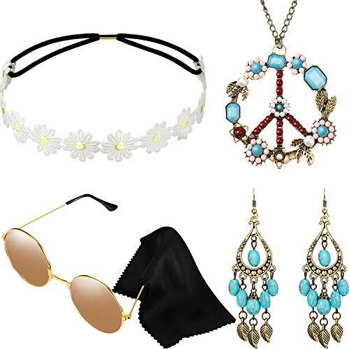 Hippie Kostüm Set mit Sonnenbrille, Stirnband, Friedenszeichen Halskette und Ohrring (Türkisfarbener Stil)