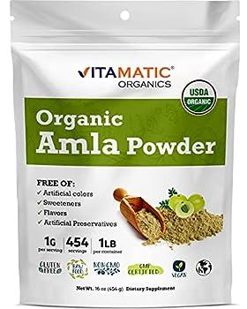 Vitamatic Certified USDA Organic Amla Berry Powder 1 Pound  16 Ounce  - Amalaki - Rich in Antioxidant Vitamin C | Supports Immunity - Gluten Free Non-GMO Kosher