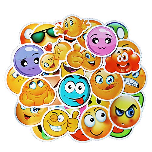 Emoji Stickers, Vinyl Waterproof Sticker and Decals for Laptops, Water Bottles, Cars, Travel Case, Motorcycle, Bicycle, Skateboard, Bumper, Luggage, Kids Girls Party Supplies Gifts 50pcs Sticker Pack