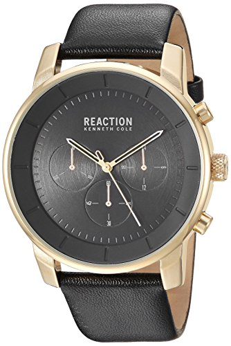 Kenneth Cole REACTION Men's Quartz Stainless Steel Casual Watch, Color:Black (Model: RK50082014)